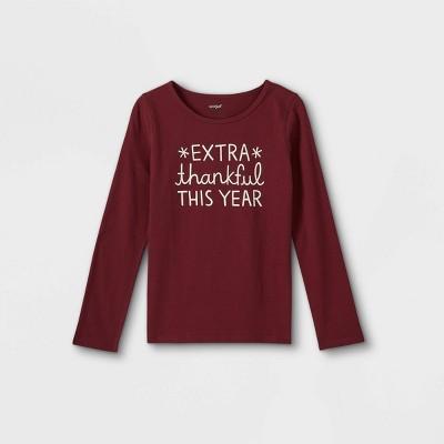 Girls' Adaptive Extra Thankful Long Sleeve T-Shirt - Cat & Jack™ Burgundy
