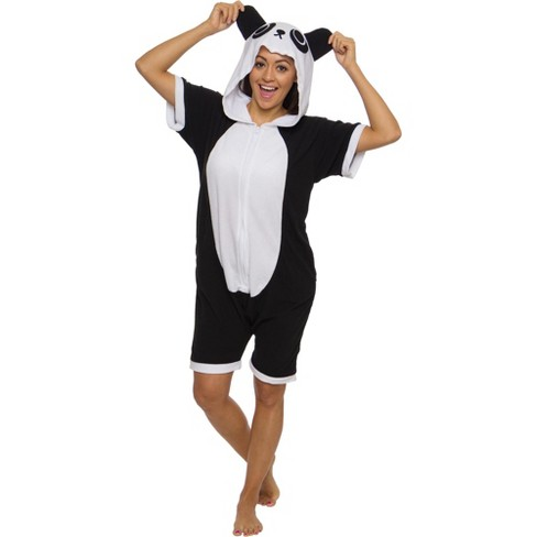 Funziez! Panda Women's Short Sleeve Novelty Romper - image 1 of 4