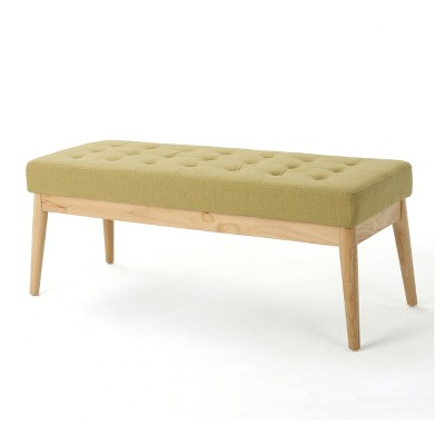 Saxon Upholstered Bench - Bright Green - Christopher Knight Home