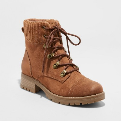 Women's Danica Lace Up Boots - Universal Thread™ Chestnut 5.5