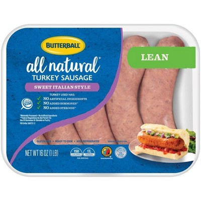 Butterball All Natural Sweet Italian Style Lean Turkey Sausage - 16oz