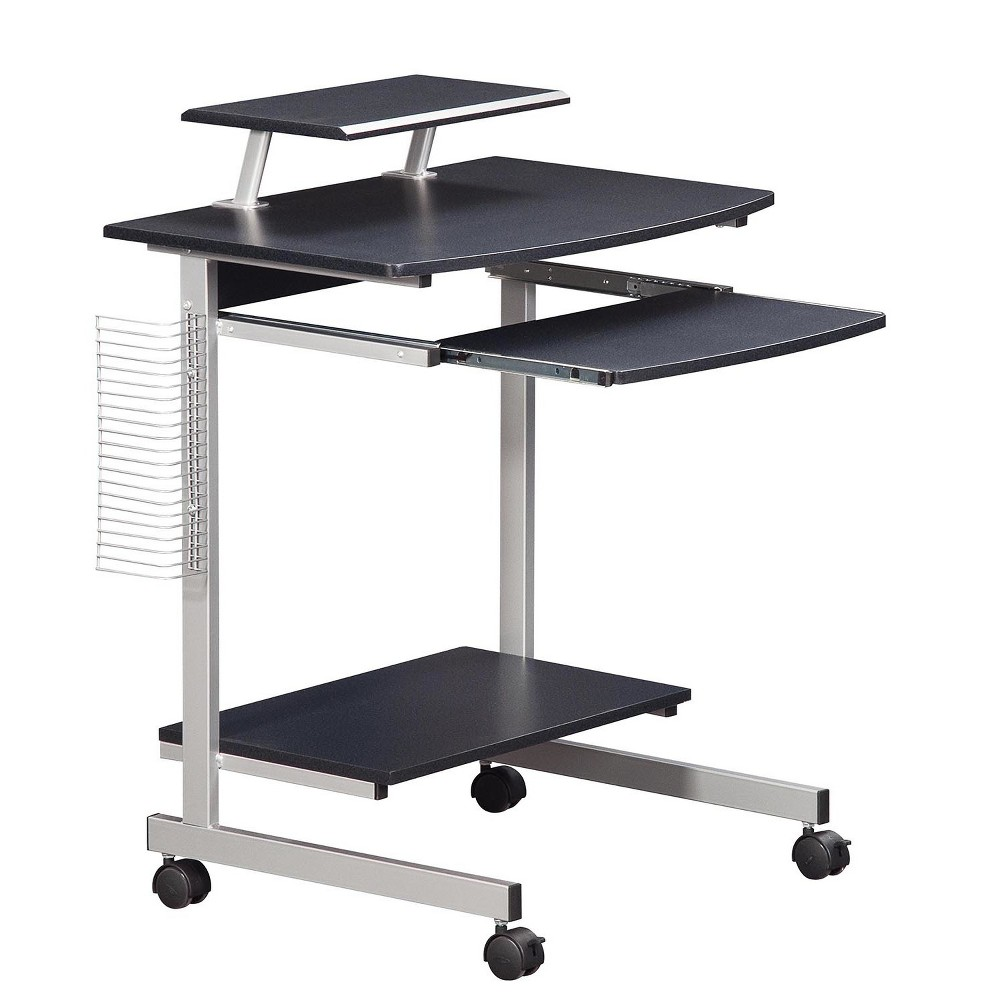 This Techni Mobili Compact Computer Cart is made with heavy-duty engineered wood panels with a moisture resistant PVC laminate veneer and a scratch-resistant powder-coated steel frame. The adjustable shelf can be mounted center, right or left of desktop. It also features a slide-out keyboard shelf equipped with a safety stop, side media rack for CDs or DVDs, bottom accessory shelf, large bottom shelf to accommodate a CPU and accessories, and large double-wheel non-marking locking casters. The desktop has a 100lb weight capacity, the shelves each have a 30lb weight capacity, and the keyboard shelf can hold up to 20lbs. Color: Graphite