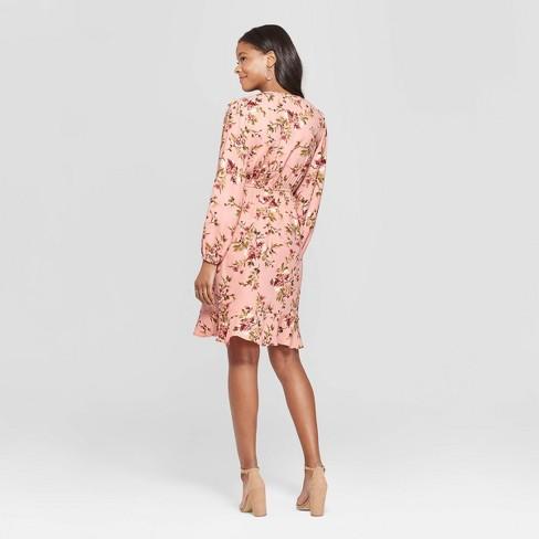 2c6ccc074b7af Women s Floral Print Long Sleeve Deep V-Neck Wrap Dress - Xhilaration™ Pale  Peach XS   Target