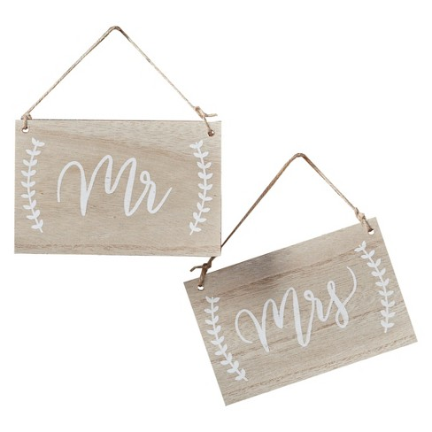 2ct Ginger Ray Mr. And Mrs. Wooden Chair Or Hanging Signs Boho - image 1 of 2