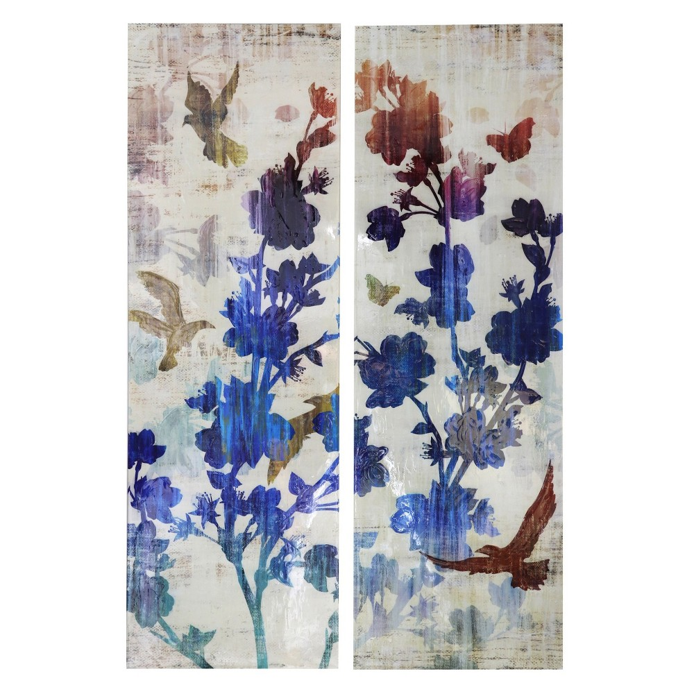 60 2pc Floral and Bird High Gloss Finish Stretched Canvas Decorative Wall Art - StyleCraft, Multi-Colored