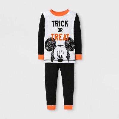 Baby Boys' Disney Mickey Mouse Trick or Treat 2pc Cotton Pajama Set - Gray 0/3M