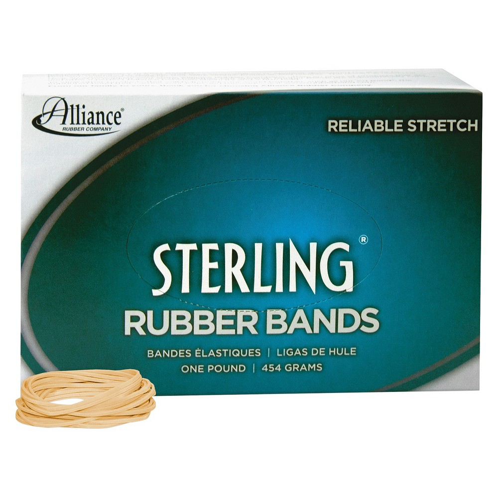 Image of Alliance Sterling Ergonomically Correct Rubber Band, #16, 2-1/2 x 1/16, 2300 Bands/1lb Box, Beige