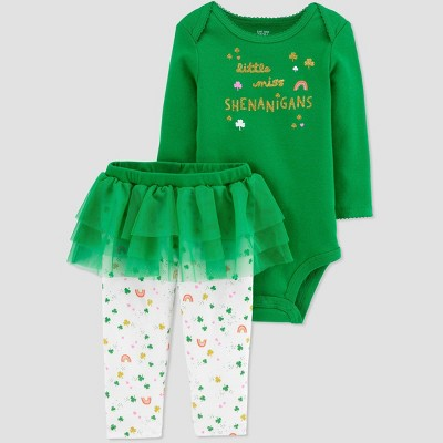 Baby Girls' 2pc 'Lil Miss' Tutu Top and Bottom Set - Just One You® made by carter's Green 3M