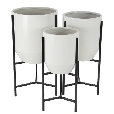 Set of 3 Metal Bucket Planters with Stand White/Black - Olivia & May