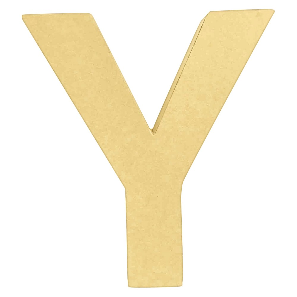 7 Paper Mache Letter Y - Hand Made Modern, Brown