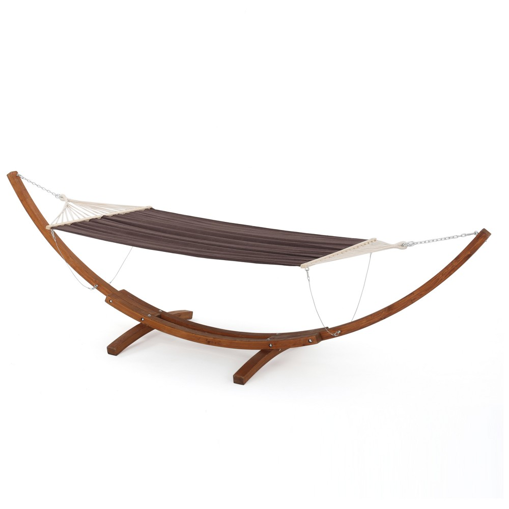 Richardson Outdoor Hammock with Base - Brown/Charcoal - Christopher Knight Home, Brown Charcoal