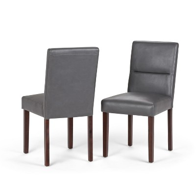 Set of 2 Seymour Parson Dining Chair Faux Leather Stone Gray - WyndenHall