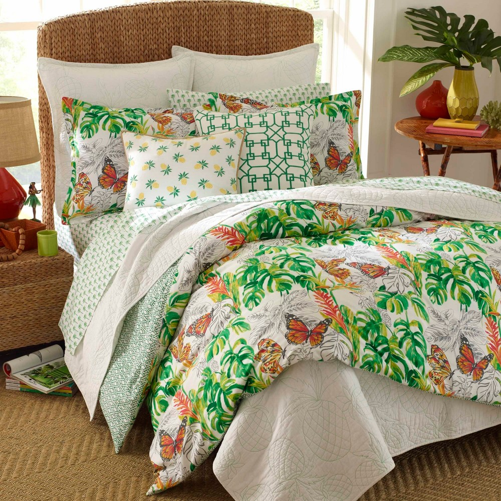 Image of Green Butterfly Garden Comforter Set (King) - Nine Palms