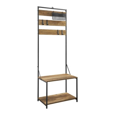 Slat Hall Tree with Adjustable Storage Reclaimed Barnwood - Saracina Home