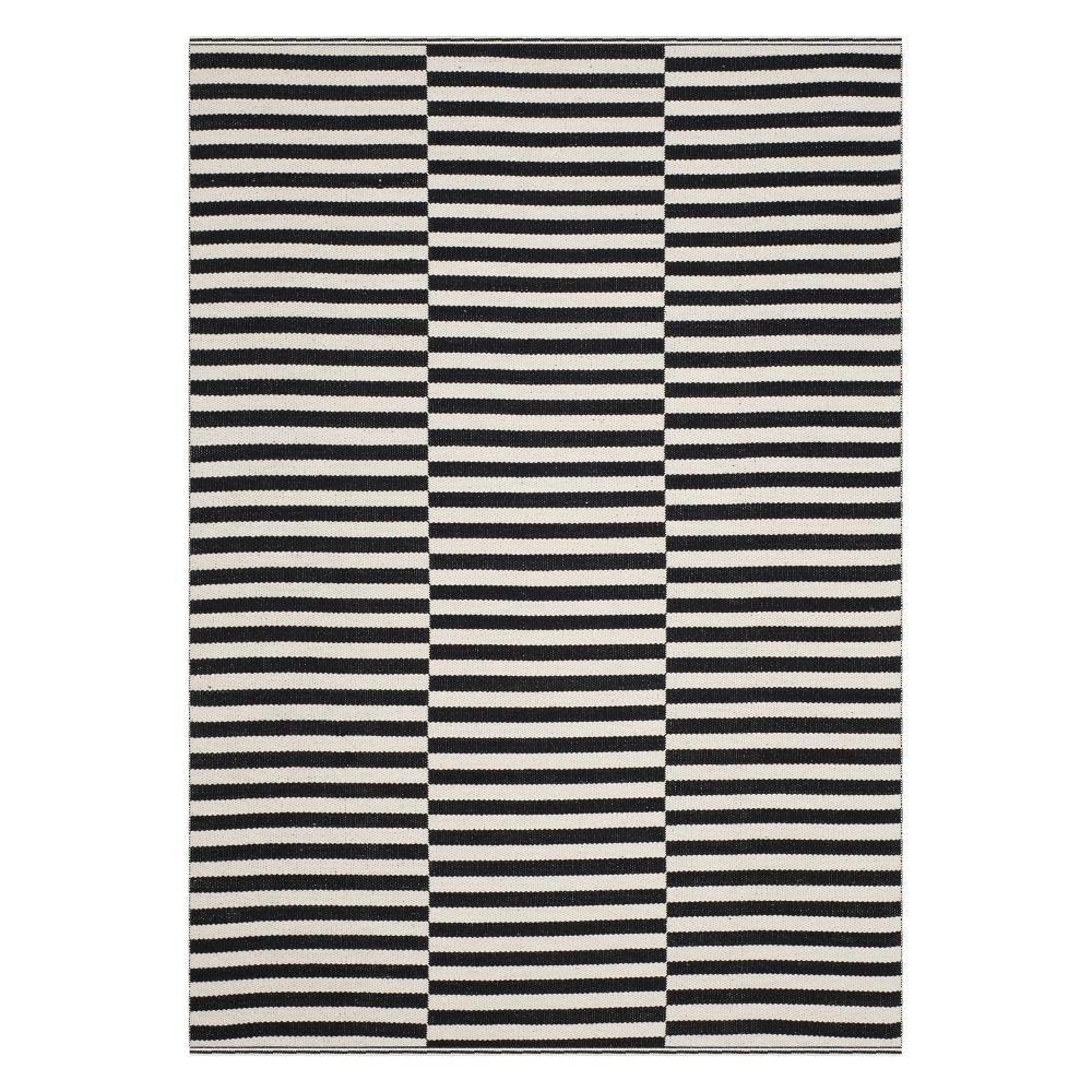 6'X9' Stripe Woven Area Rug Ivory/Black - Safavieh