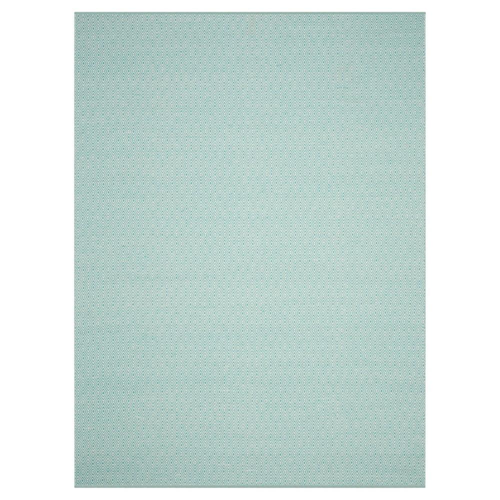 Ivory/Aqua (Ivory/Blue) Stripe Flatweave Woven Area Rug - (8'X10') - Safavieh