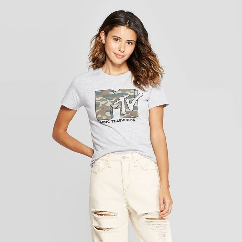 Women's MTV Camo Print Short Sleeve T-Shirt (Juniors') - Athletic Heather - image 1 of 2