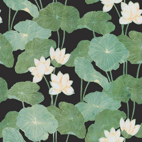 RoomMates Lily Pads Peel & Stick Wallpaper Black/Green - image 1 of 4