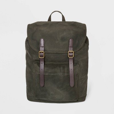 Men's Waxed Canvas Backpack - Goodfellow & Co™ Dark Green One Size