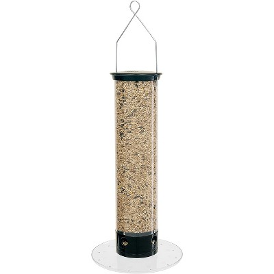 Droll Yankees 5 Pound Capacity 28 Inches Tall Yankee Tipper Squirrel Proof Bird Feeder with Weight Sensitive Tray for Ground Feeding Birds, Black
