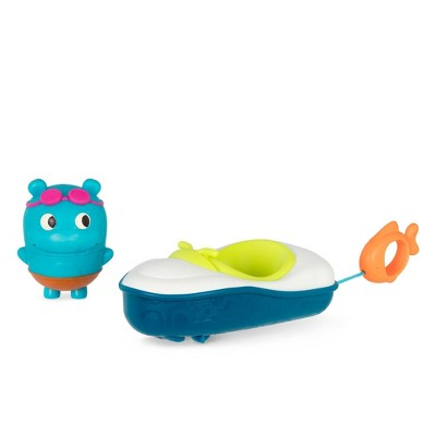 Land of B. Pull-Back Bath Boat & Toy Hippo - Pull & Go Rider