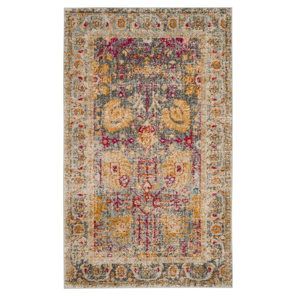 Floral Loomed Accent Rug 3'X5' - Safavieh, Light Gray/Multi