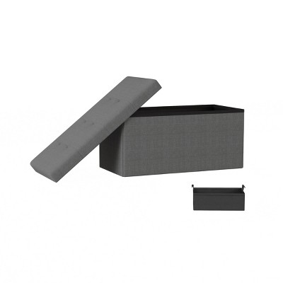 Large Folding Storage Bench Ottoman with Removable Bin Gray - Yorkshire Home