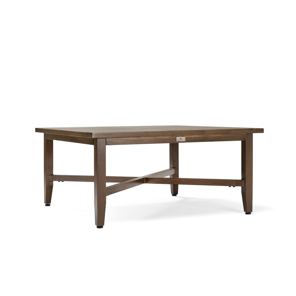 Image of Bahamas Square Aluminum Outdoor Chat Table - Blue Oak Outdoor, Brown