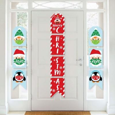 Big Dot of Happiness Merry Christmask - Hanging Vertical Paper Door Banners - 2020 Quarantine Christmas Party Wall Decoration Kit - Indoor Door Decor