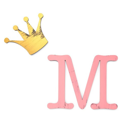 letter2word hand painted letter m with crown 3d wall sculpture pink