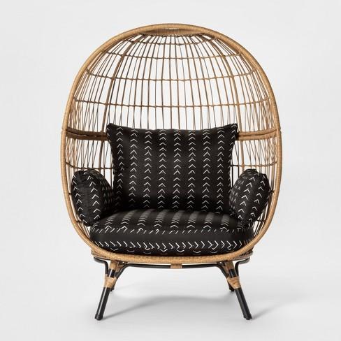 Prime Southport Vee Stripe Patio Egg Chair Black White Opalhouse Machost Co Dining Chair Design Ideas Machostcouk