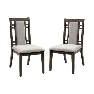Set of 2 Johnson Modern Padded Fabric Side Dining Chair Gray - HOMES: Inside + Out