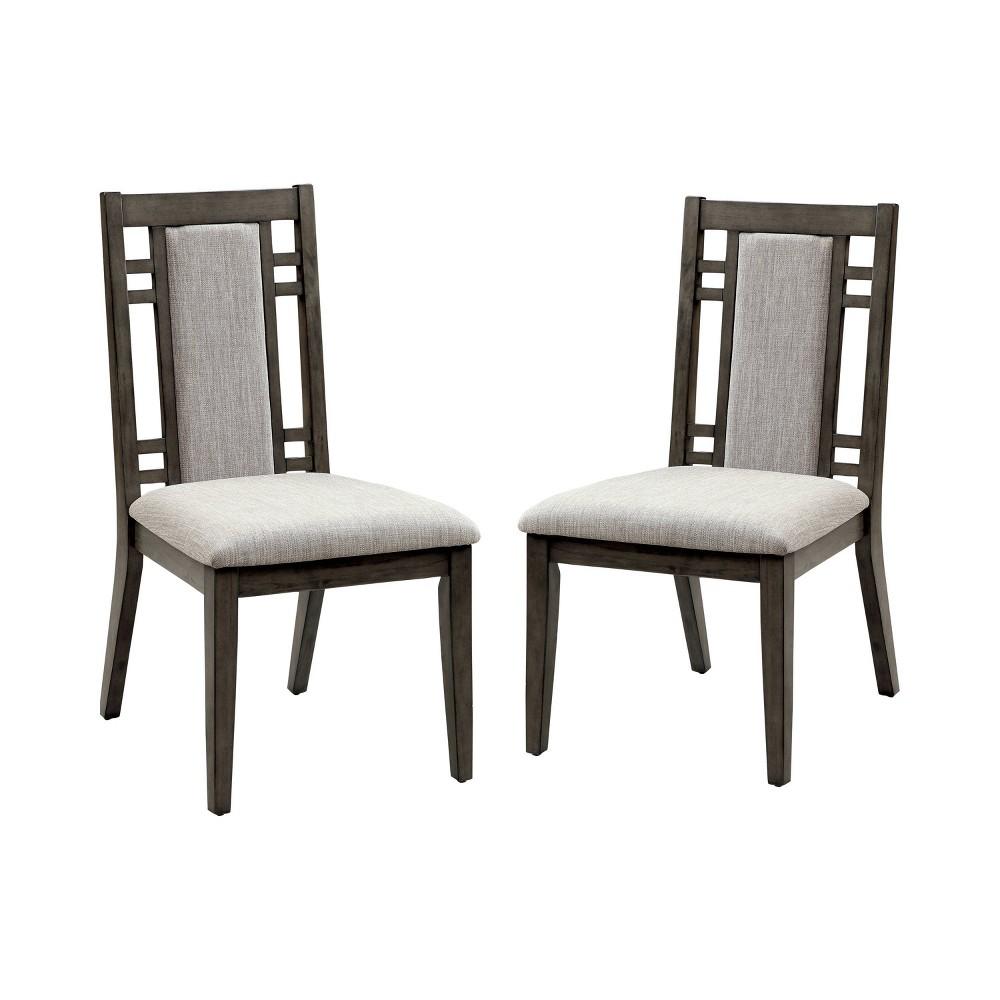 Set of 2 Johnson Modern Padded Fabric Side Dining Chair Weathered Gray - Sun & Pine