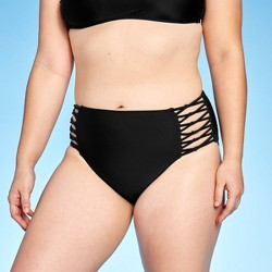 Women's Strappy Knotted High Waist Cheeky Bikini Bottom - Xhilaration™ Black