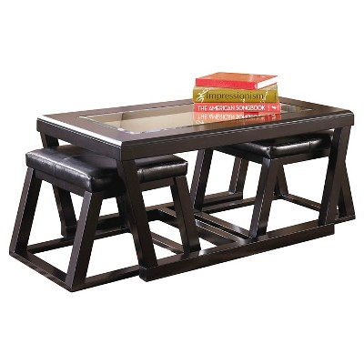 Kelton Cocktail Table With 2 Stools Espresso (Set Of 3)   Signature Design  By Ashley