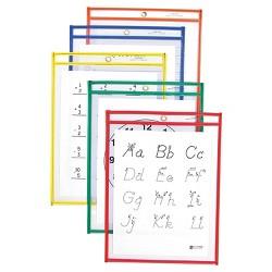 "C-Line 25ct 9"" x 12"" Reusable Dry Erase Pockets - Primary Colors"