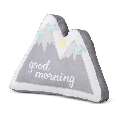 Plush Throw Pillow Mountains Good Morning/Good Night (Reversible)- Cloud Island™ Gray