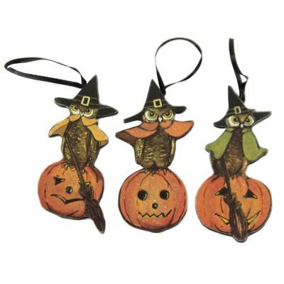 "Halloween 4.5"" 3 Witch Owls Dummy Board Set/3 Ornament Halloween Pumpkin  -  Decorative Figurines"