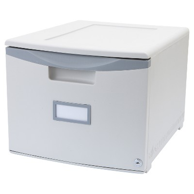Storex Stackable Filing Drawer with Lock - Gray