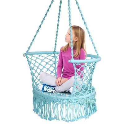 Costway Hanging Hammock Chair Cotton Rope Macrame Swing Indoor Outdoor Gray\Black\Turquoise