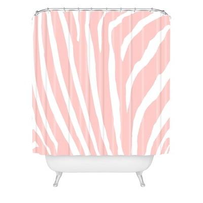 Natalie Baca Zebra Striped Rose Quartz Shower Curtain Pink - Deny Designs