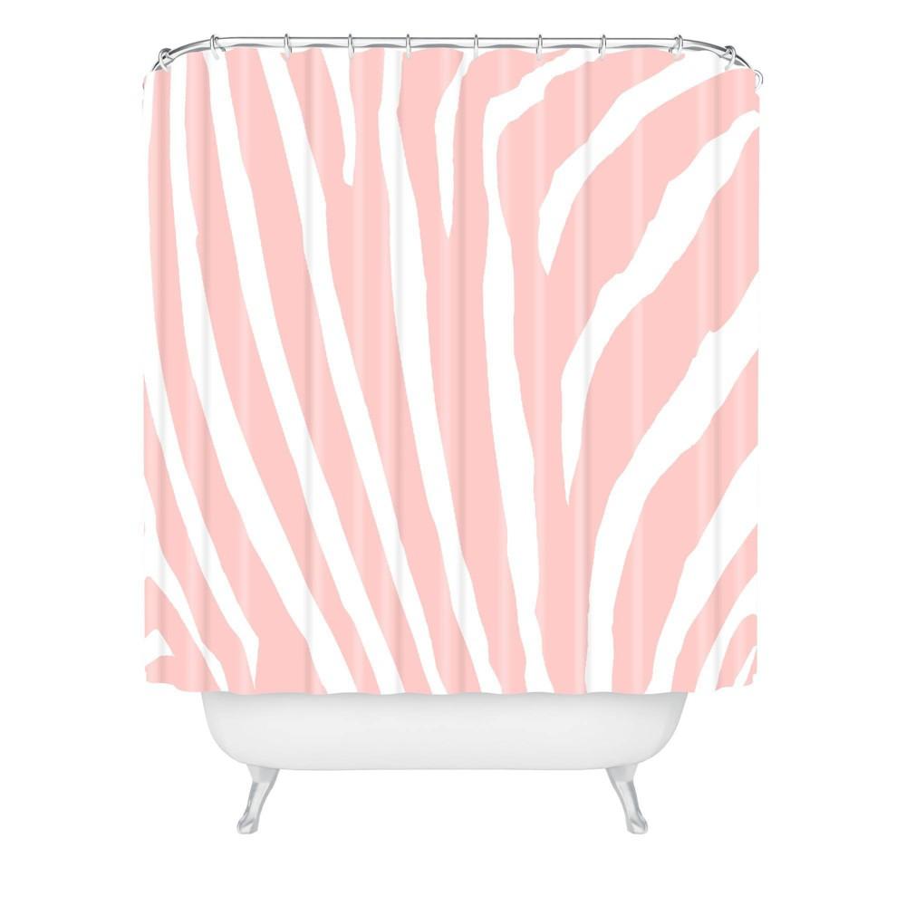 Natalie Baca Zebra Striped Rose Quartz Shower Curtain Deny Designs