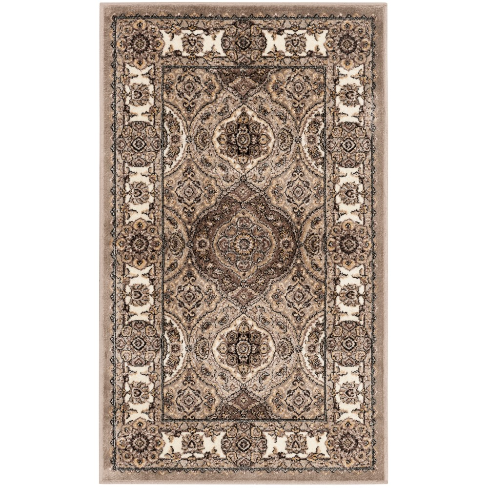 Medallion Loomed Accent Rug Taupe/Ivory
