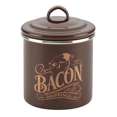 Ayesha Curry Enamel on Steel Bacon Grease Can 4 x 4  Brown Sugar