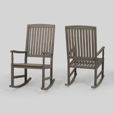 Arcadia 2pk Acacia Wood Rocking Chair Gray - Christopher Knight Home