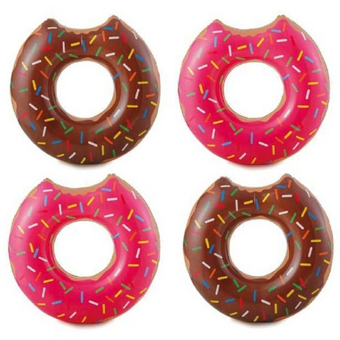 4 Summer Waves Chocolate or Strawberry Pink Donut Inflatable Swimming Pool Float - image 1 of 4
