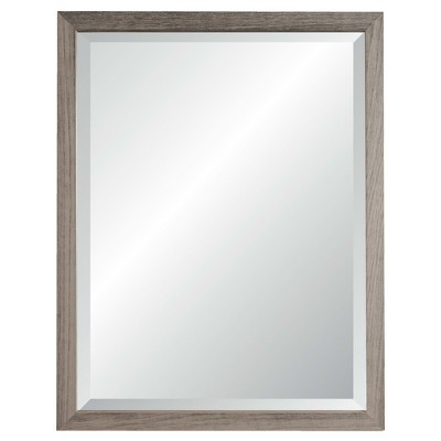 27  x 33  Nantucket Weathered Gray Framed Beveled Glass Wall Mirror - Alpine Art and Mirror