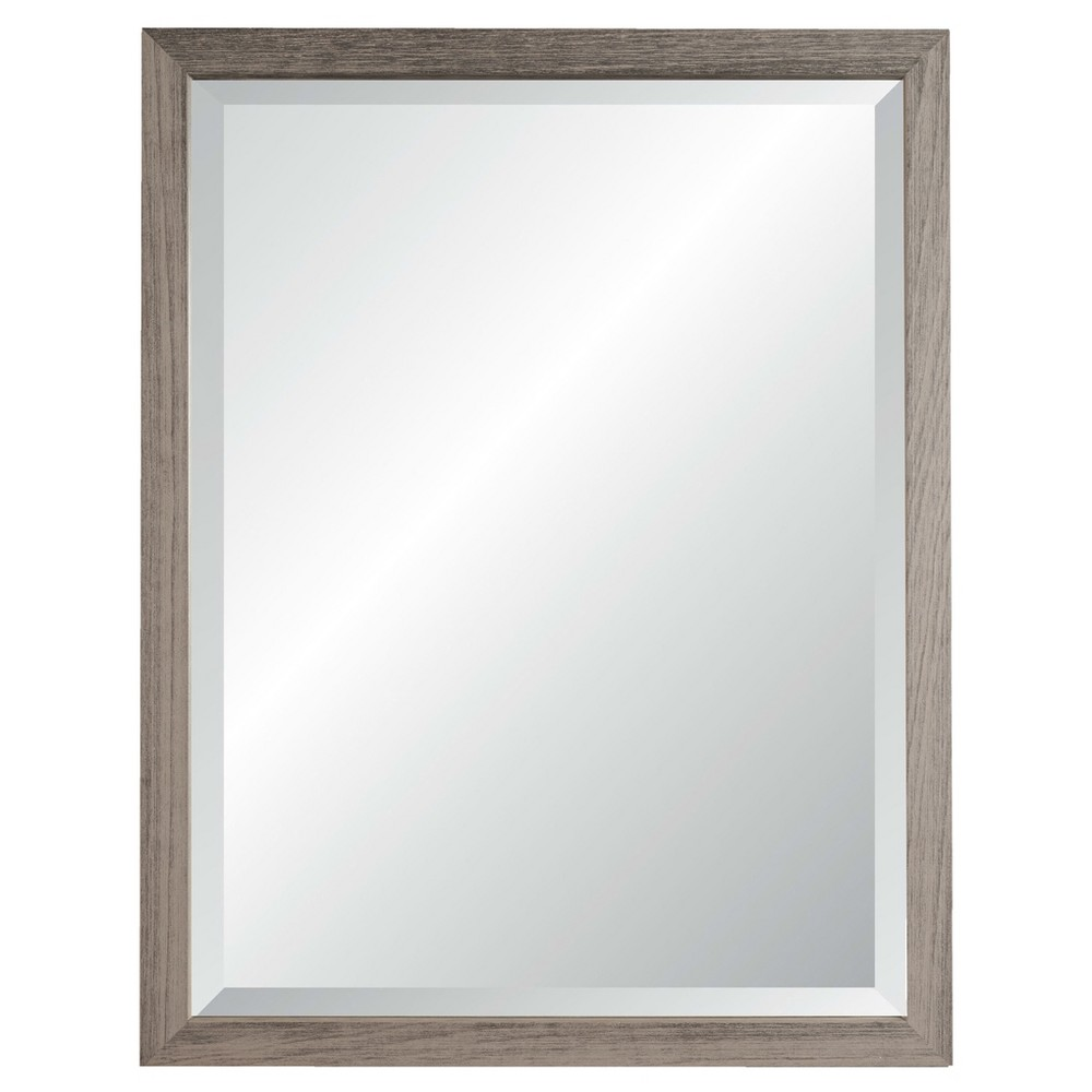 "Image of ""27"""" x 33"""" Nantucket Weathered Gray Framed Beveled Glass Wall Mirror - Alpine Art and Mirror, Light Grey Heather"""