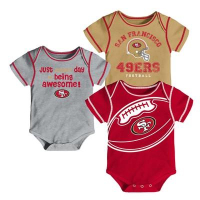 San Francisco 49ers Baby Boys' Awesome Football Fan 3pk Bodysuit Set - 3-6 M