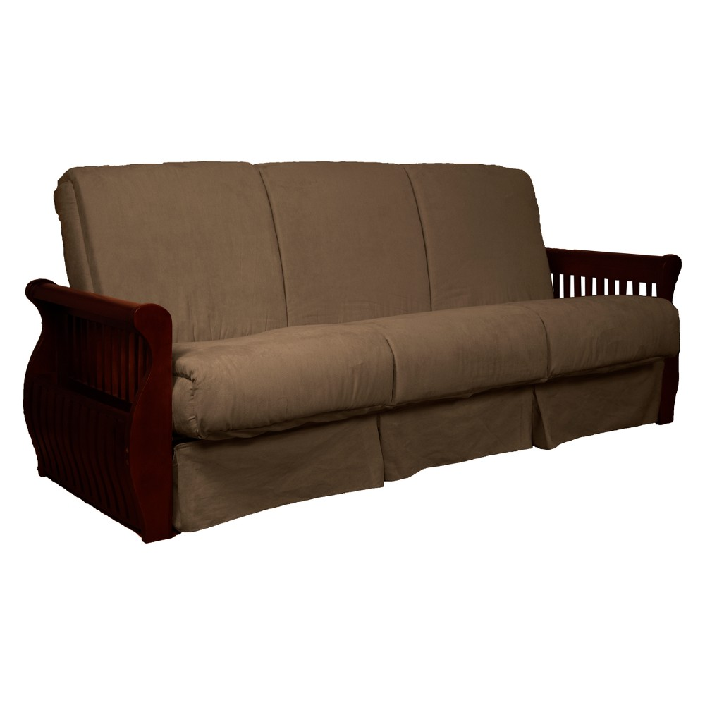 Storage Arm Perfect Futon Sofa Sleeper Mahogany Wood Finish Mocha Brown - Epic Furnishings